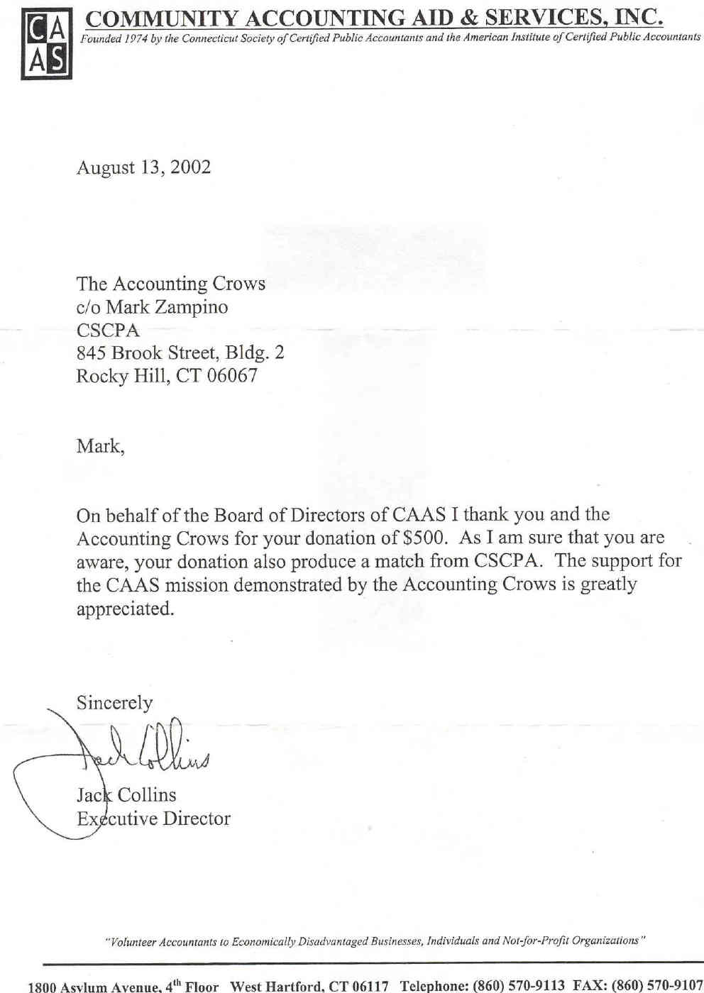 Letter from CAAS