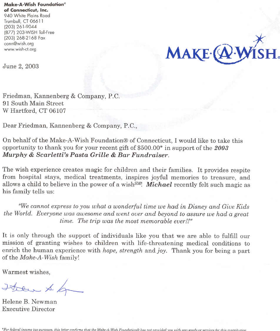 Letter from Make A Wish